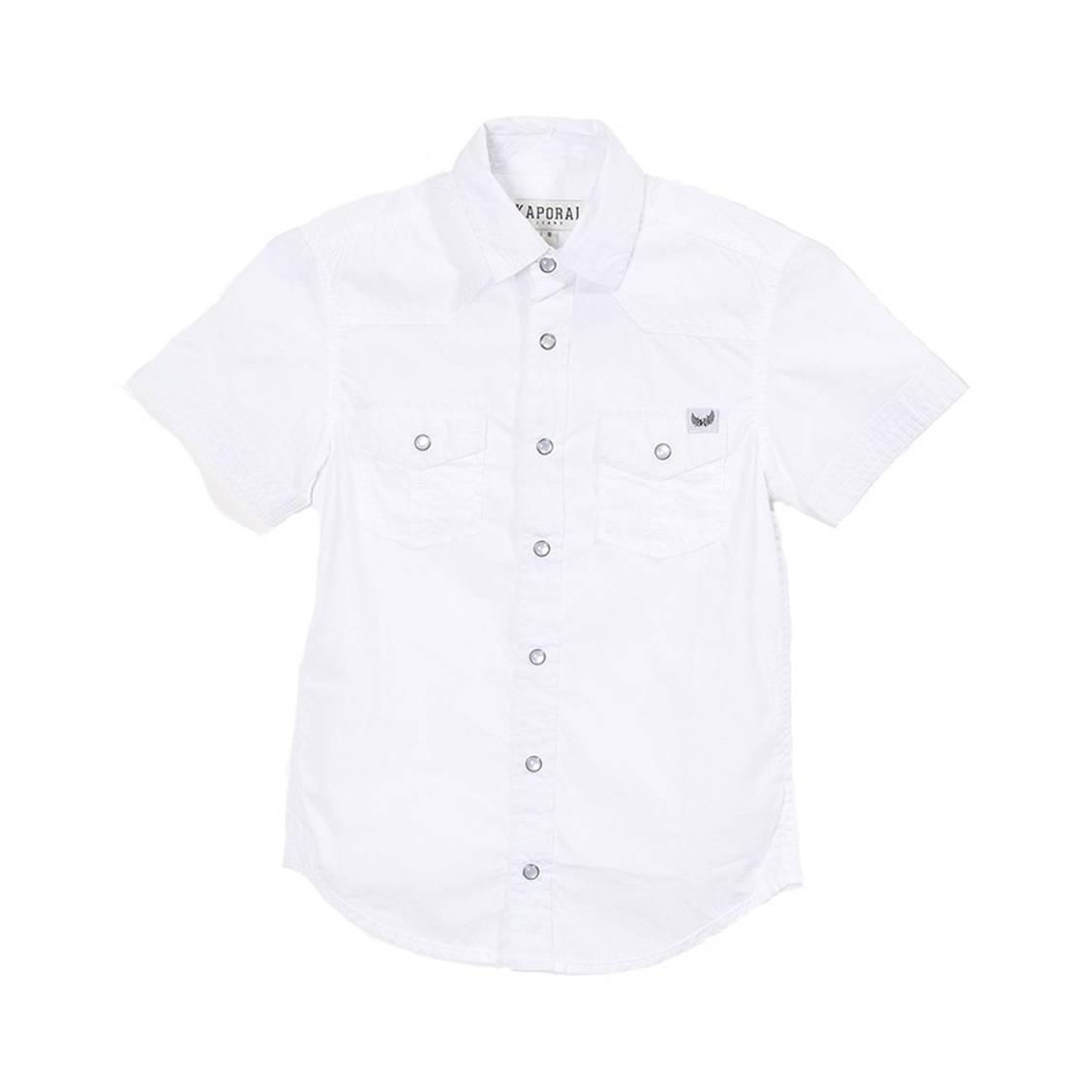 Chemise manches courtes droite  redou en coton blanc floqué dans le dos
