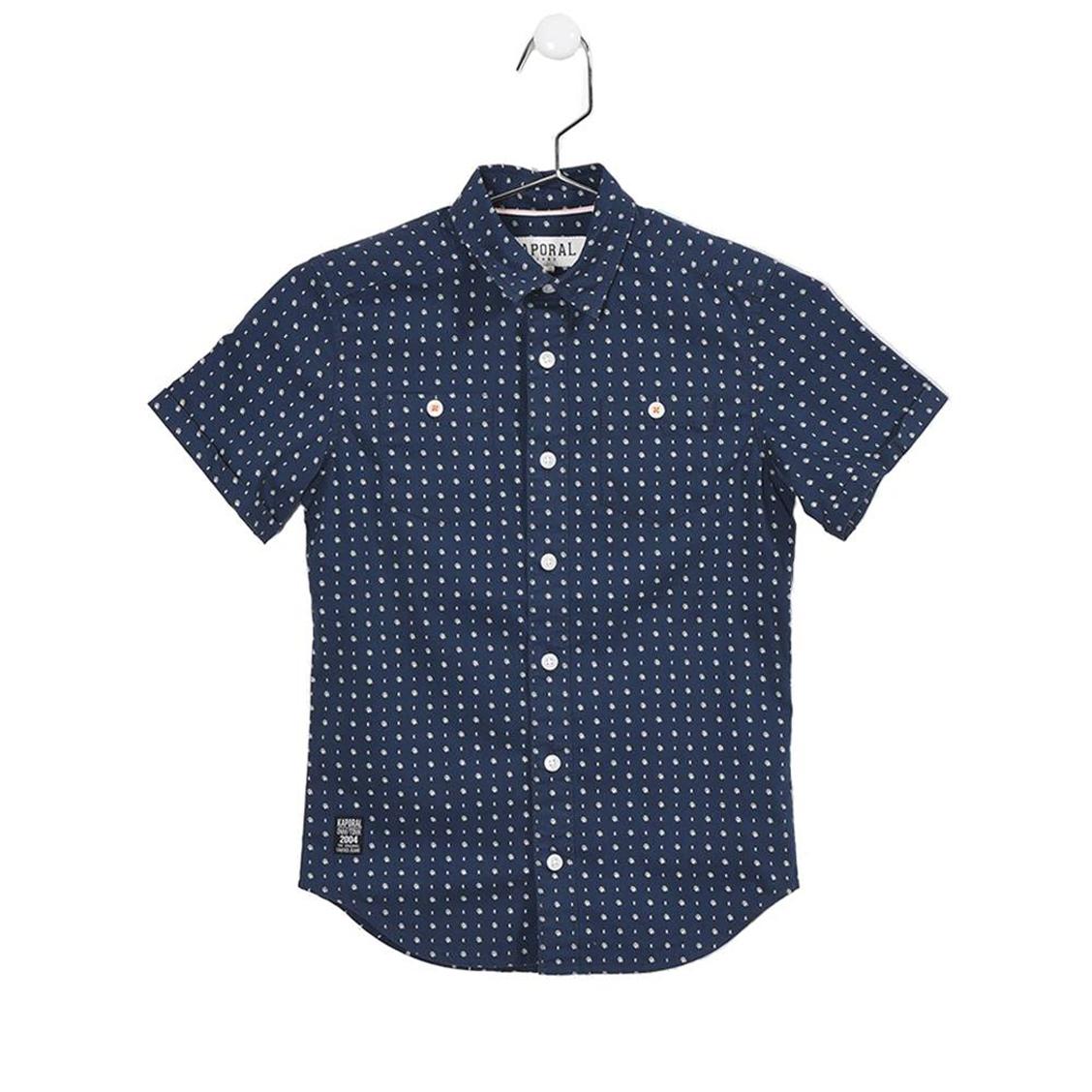 Chemise droite manches courtes  rawn en coton bleu marine à motifs blancs