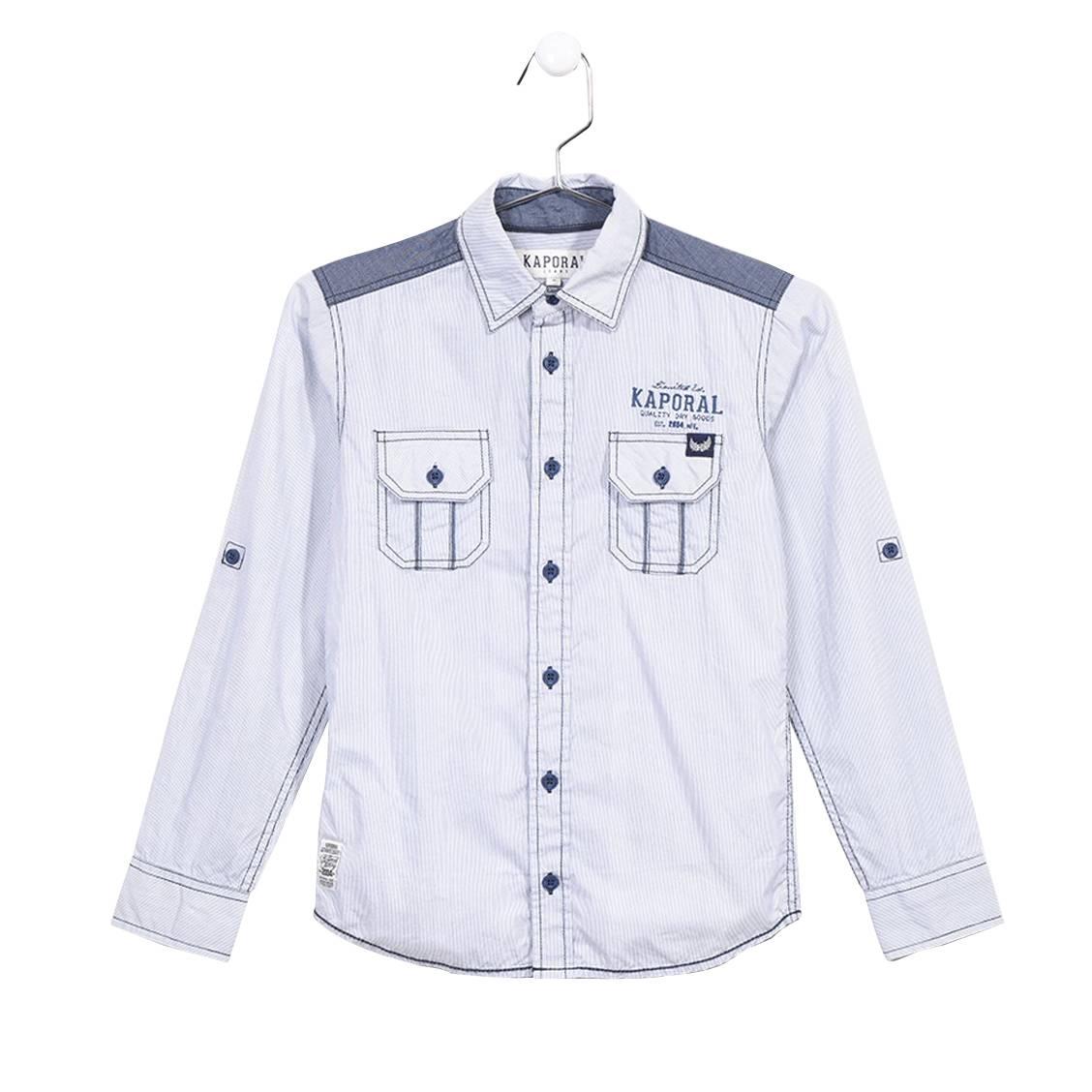 Chemise droite  rosak à fines rayures bleues et blanches