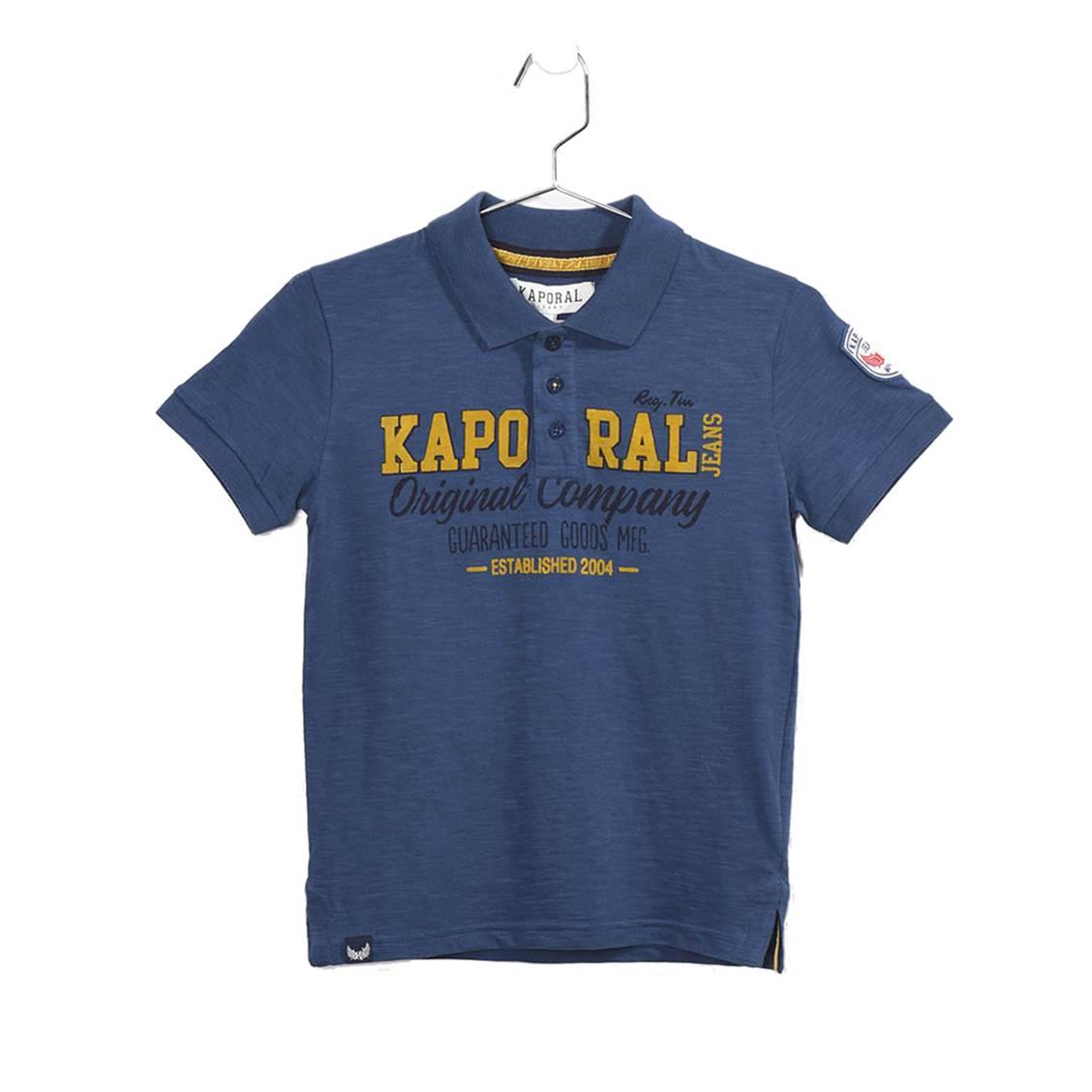Polo  relba en coton bleu floqué en jaune et noir