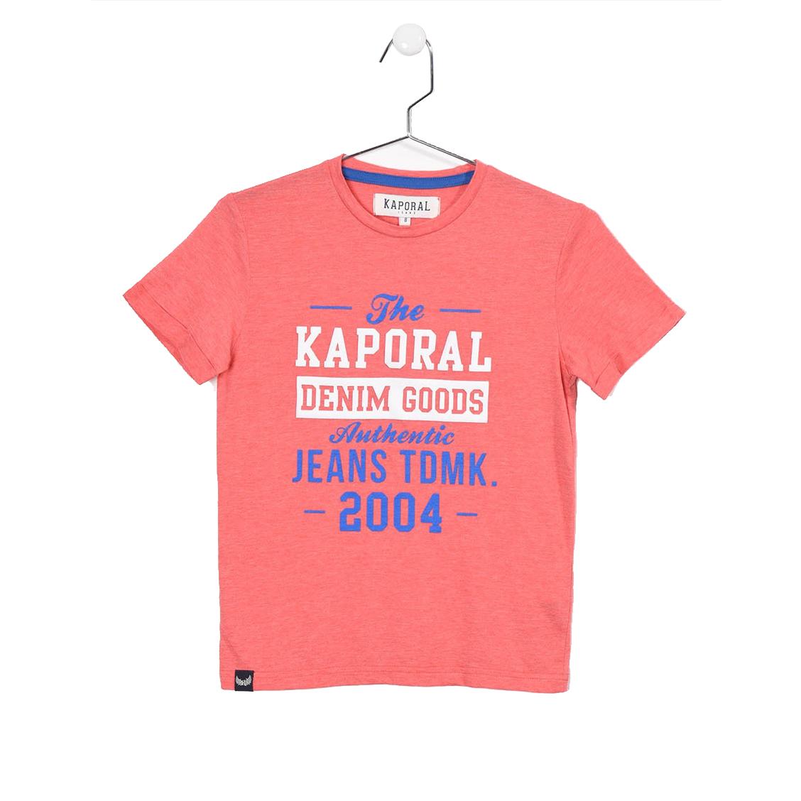 Tee-shirt col rond  rapy en coton mélangé rouge chiné