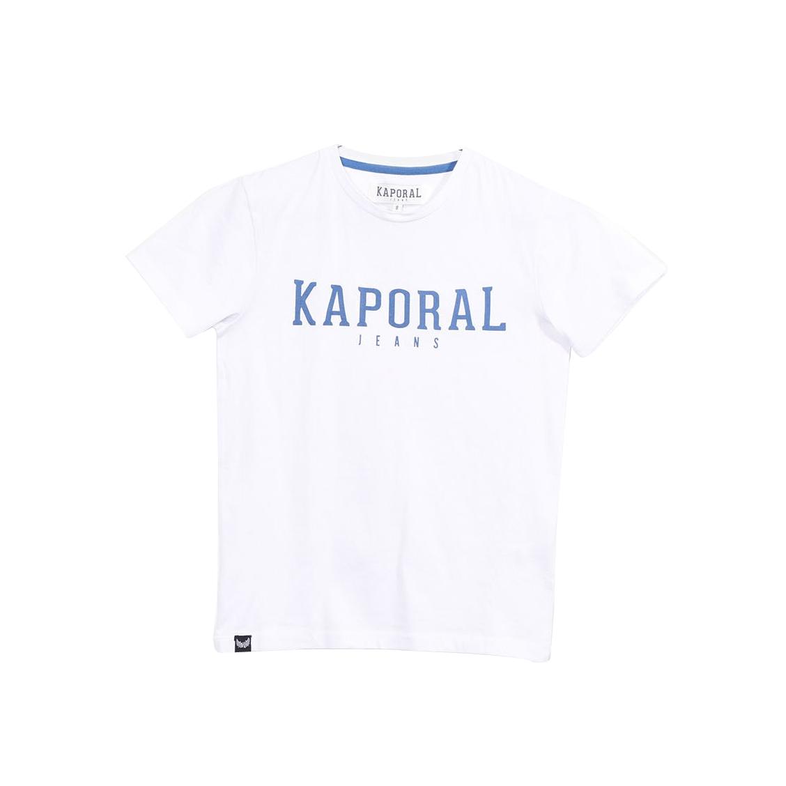 Tee-shirt col rond  rona en coton blanc floqué en bleu