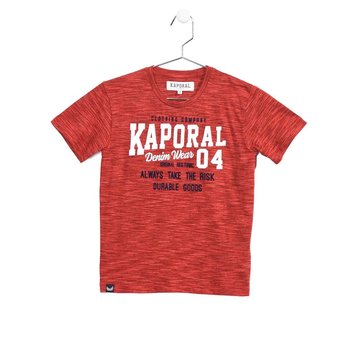 Tee-shirt col rond  rooky en coton mélangé chiné rouge