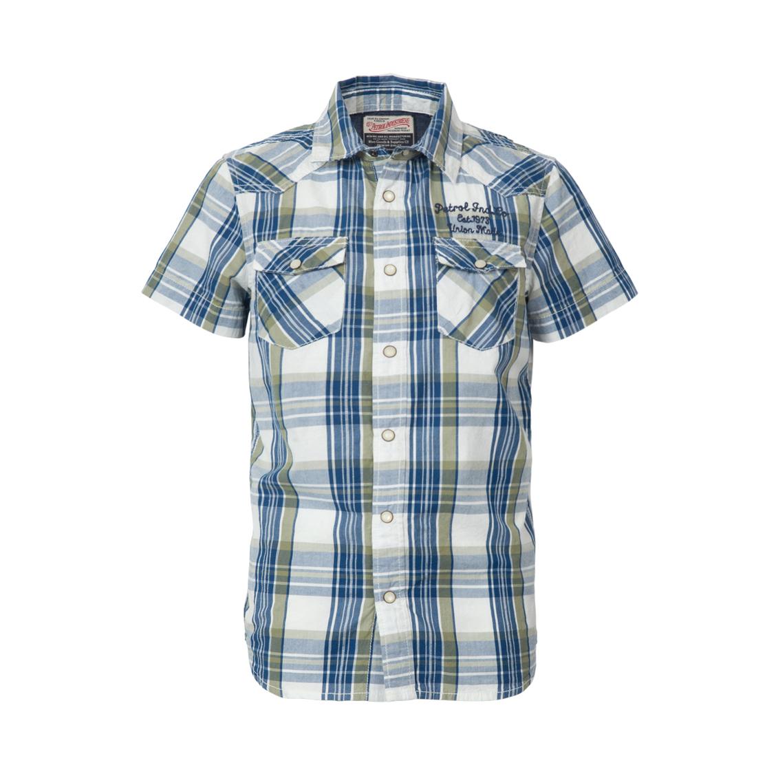 Chemise  en coton à carreaux bleu marine, blancs et verts
