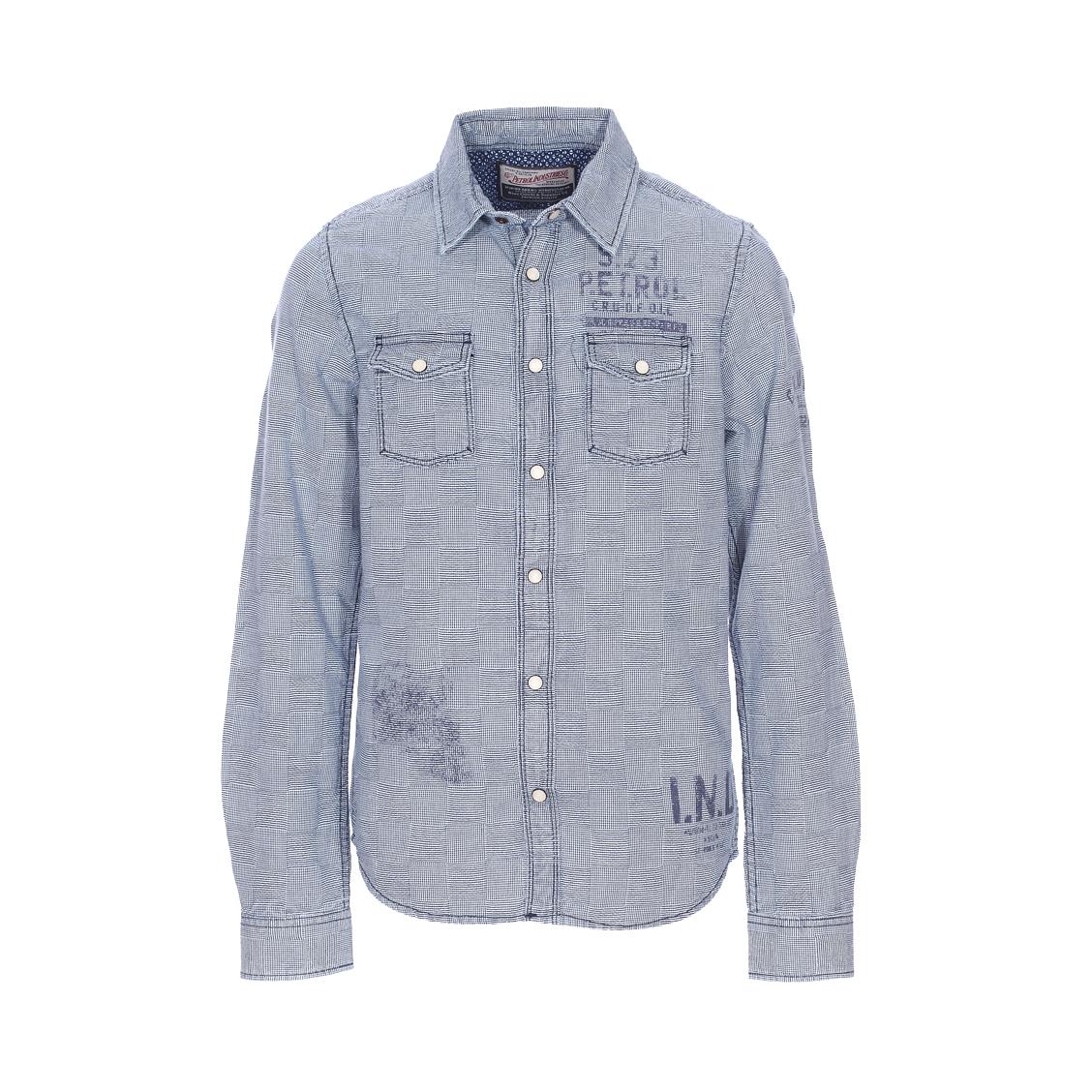 Chemise  en coton bleu marine à mini damiers blancs