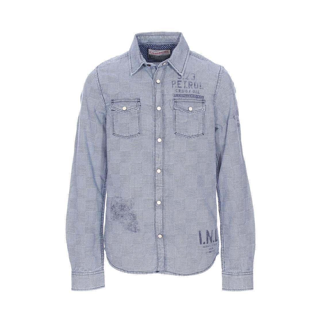 Chemise Petrol Industries Junior en coton bleu marine à mini damiers blancs