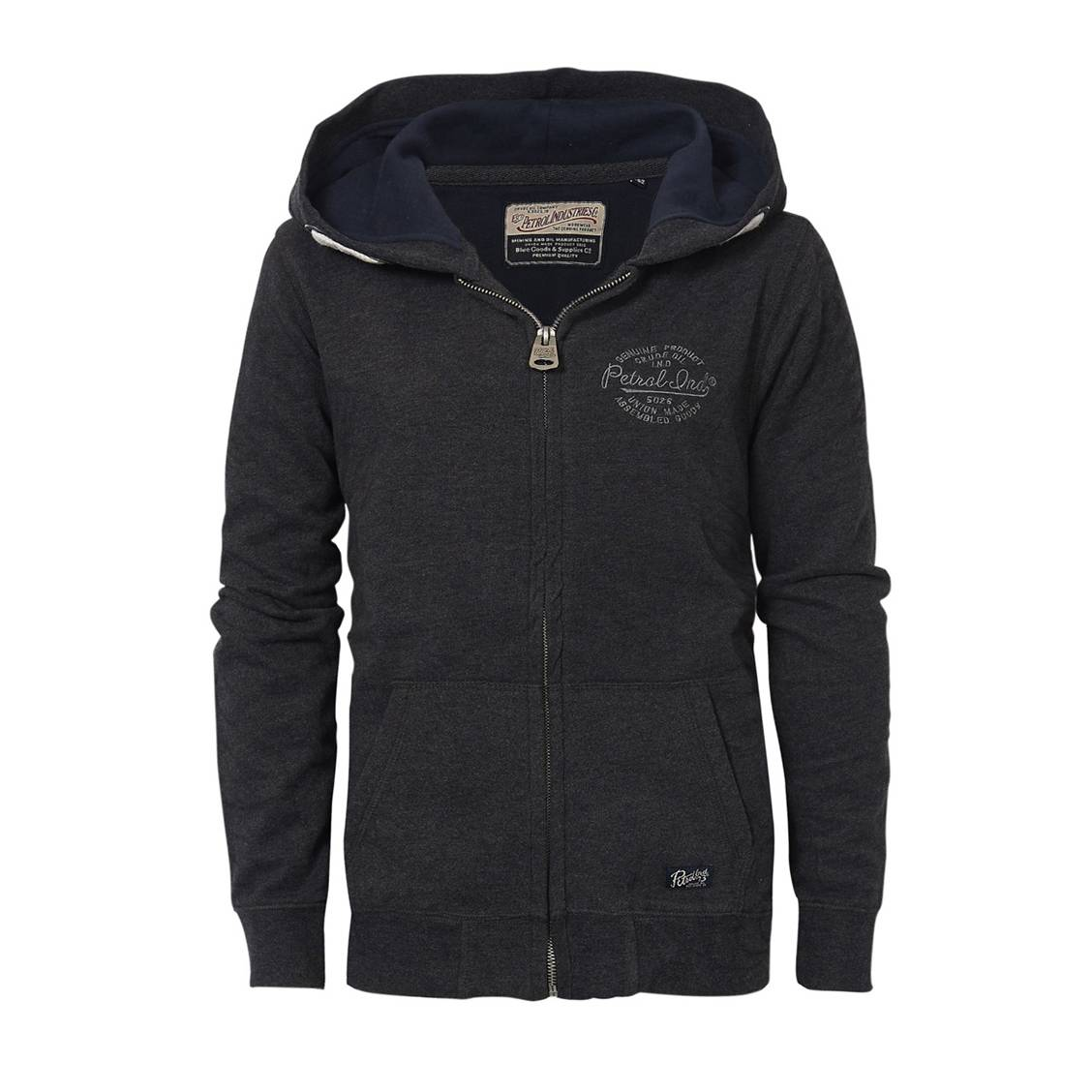 Sweat zippé à capuche Petrol industries Junior en molleton gris anthracite