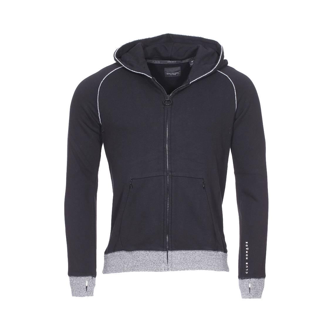 Sweat zippé à capuche Scotch & Soda Junior Club Nomade en coton noir
