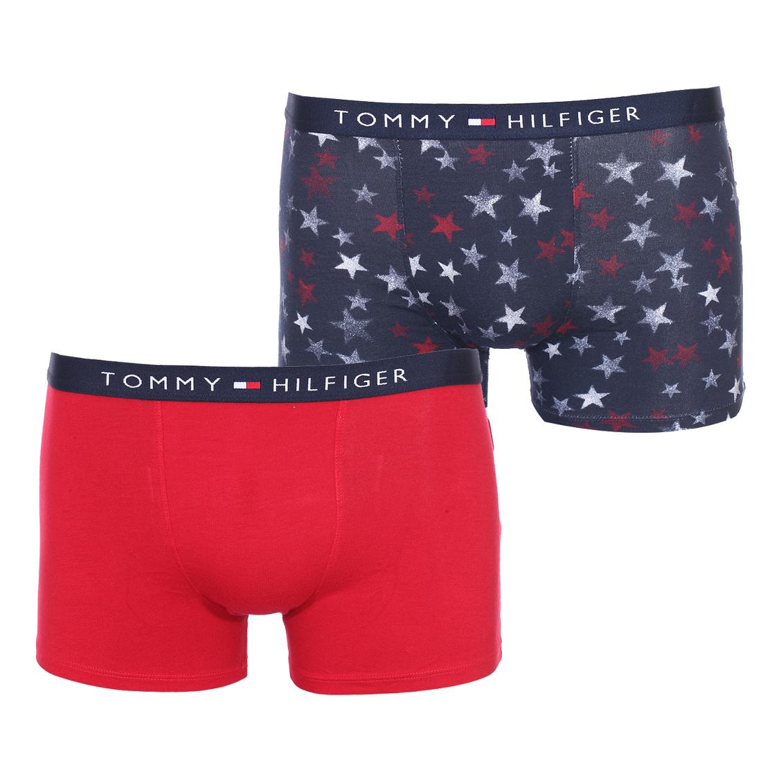 Lot de 2 boxers  en coton stretch bleu marine à étoiles et rouge