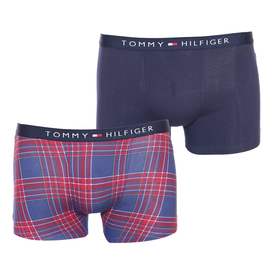 Lot de 2 boxers  en coton stretch bleu marine et à carreaux rouges, blancs et bleu marine