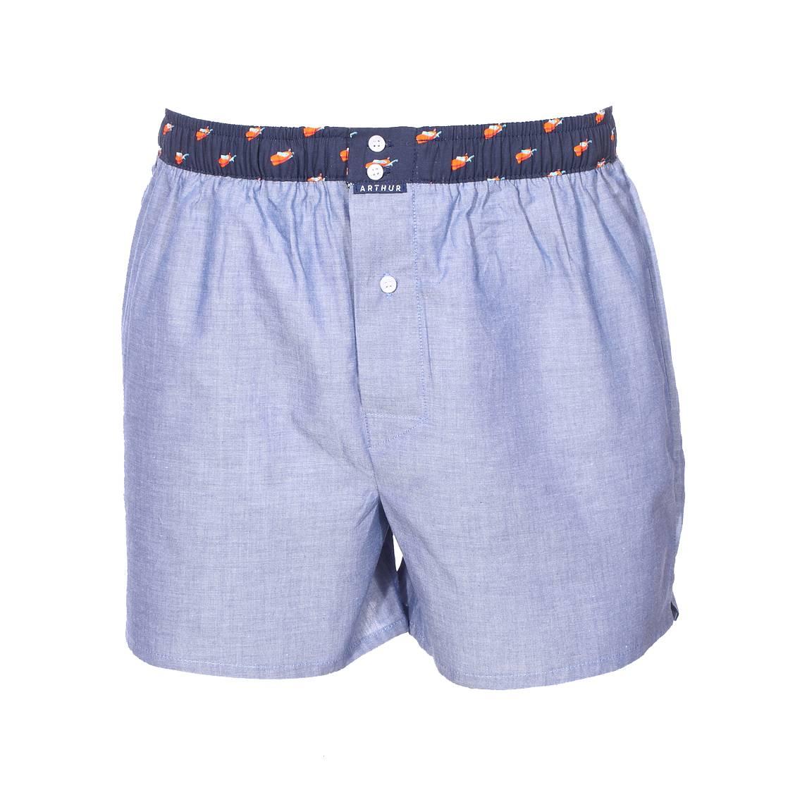 Caleçon Arthur Club en coton bleu denim à ceinture bleu marine à motifs bateaux