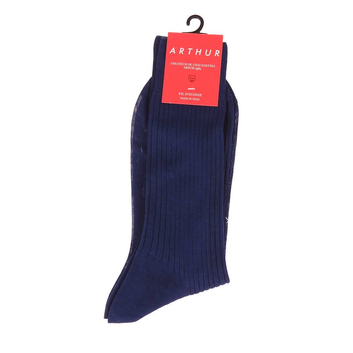 Chaussettes  en fil d\'écosse bleu foncé