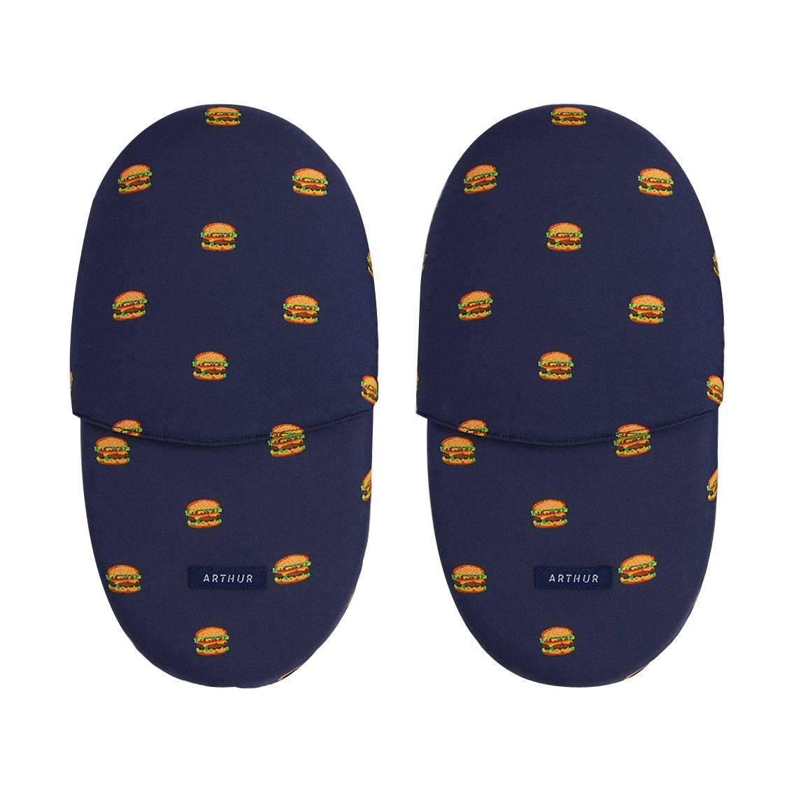Chaussons  bleu marine à motifs burgers