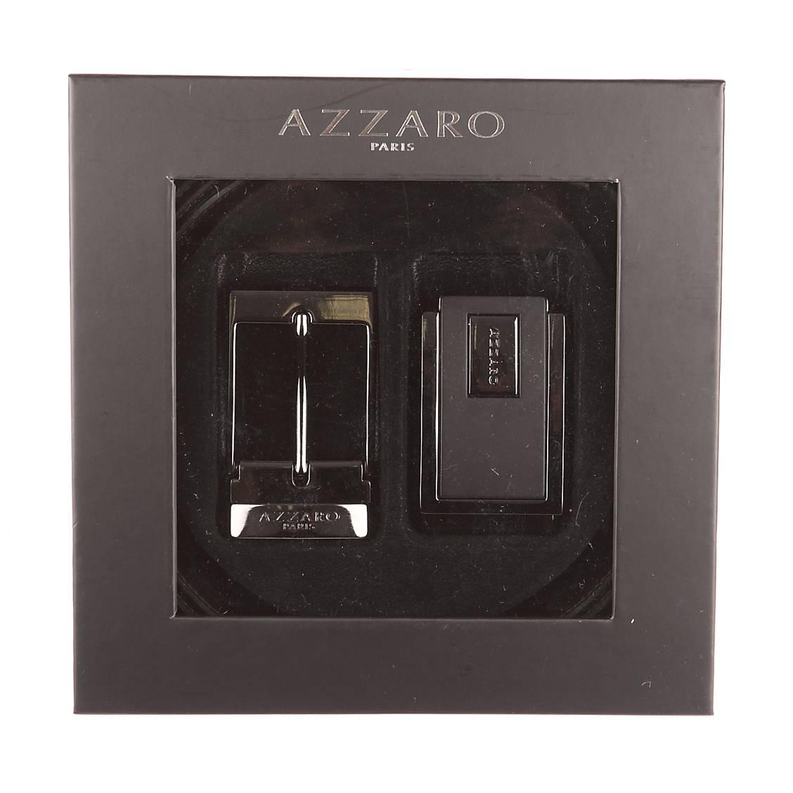 Coffret cadeau Azzaro Made in France : ceinture ajustable noire réversible marron, 1 boucle pleine à poinçon et 1 boucle à ardillon