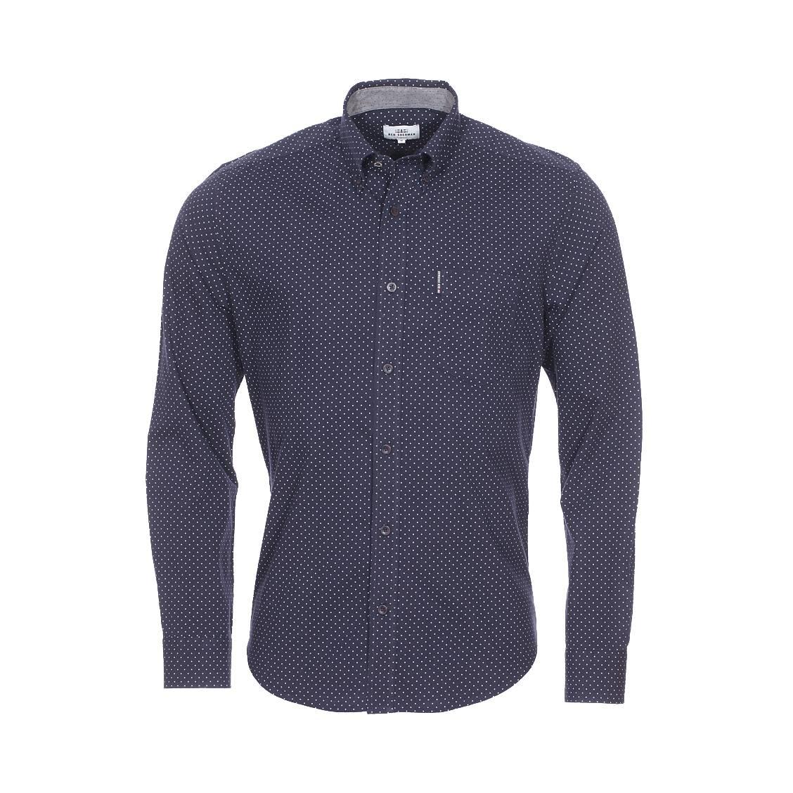 Chemise droite  en coton bleu marine à pois blancs