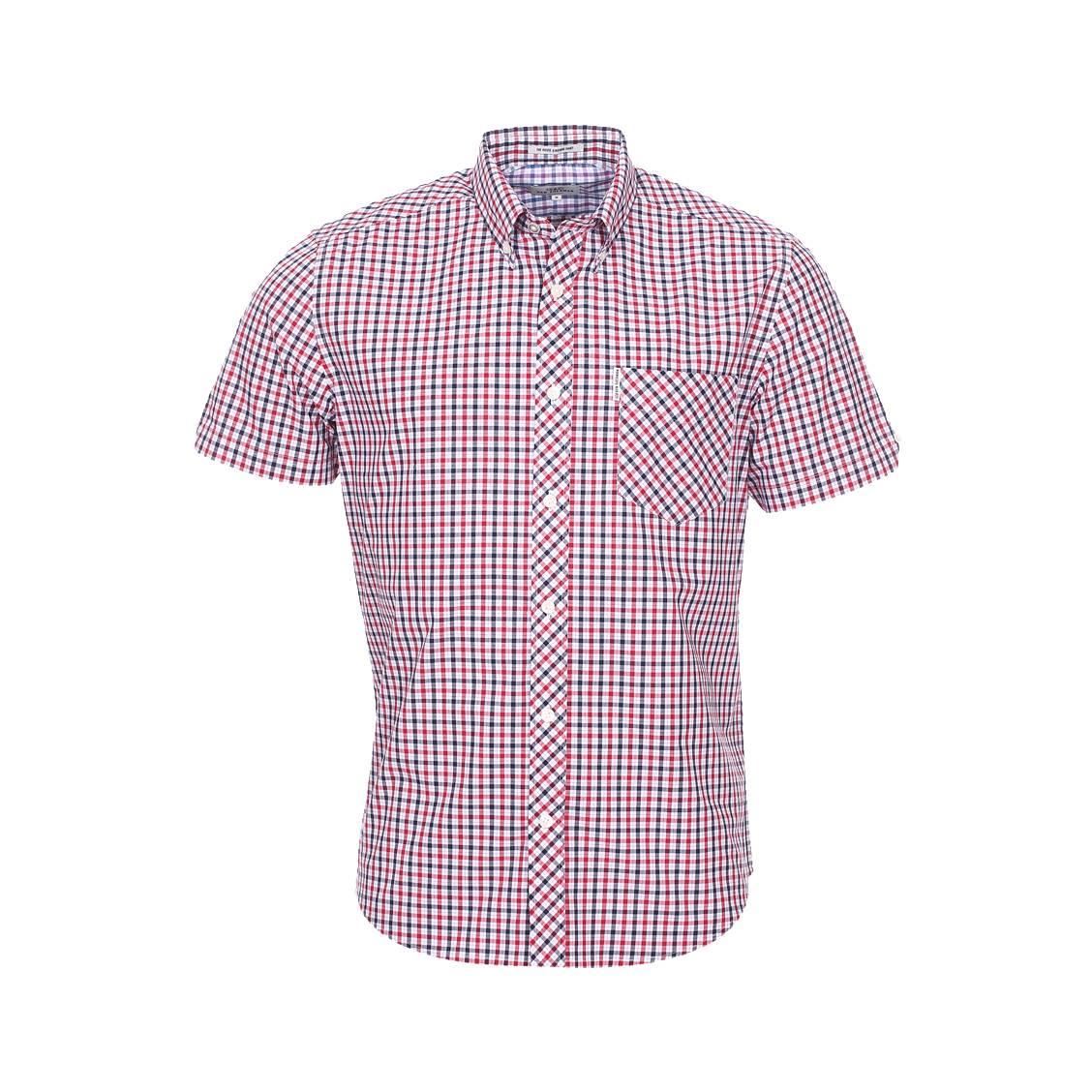 Chemise manches courtes droite  en coton à carreaux bleu marine, blancs et rouges