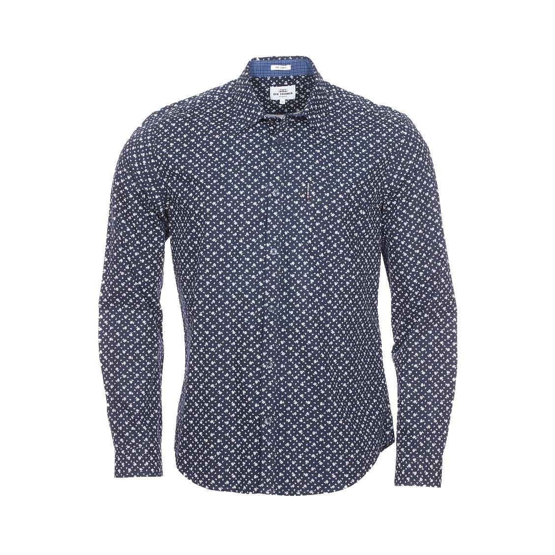 Chemise cintrée  en coton bleu marine à motif floral