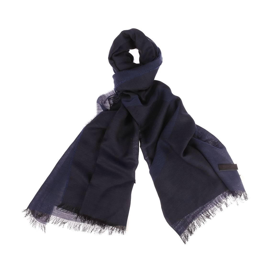 Chèche calvin klein jeans en laine mélangée bleu marine floqué