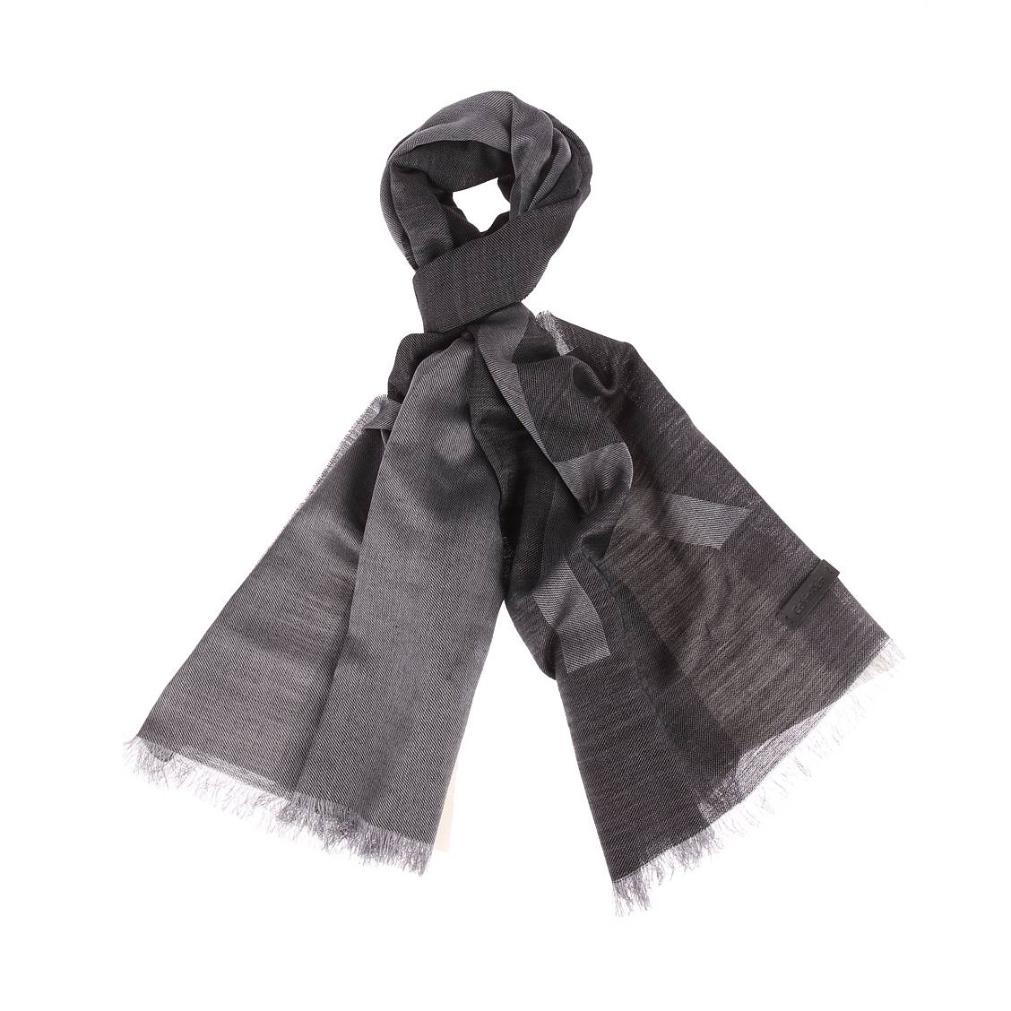 Chèche calvin klein jeans en laine mélangée noire floqué