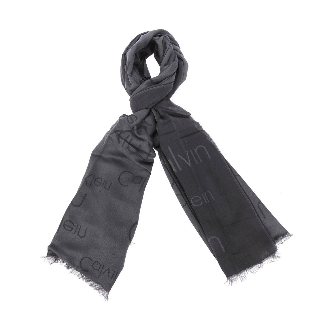 Chèche calvin klein jeans logo en coton et modal noir et gris anthracite brodé