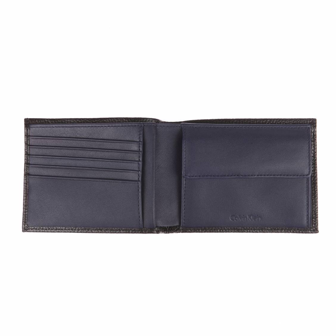 Coffret Calvin Klein Jeans Pebble : portefeuille italien 2 volets noir et pince à billet floqué 7MsNqm