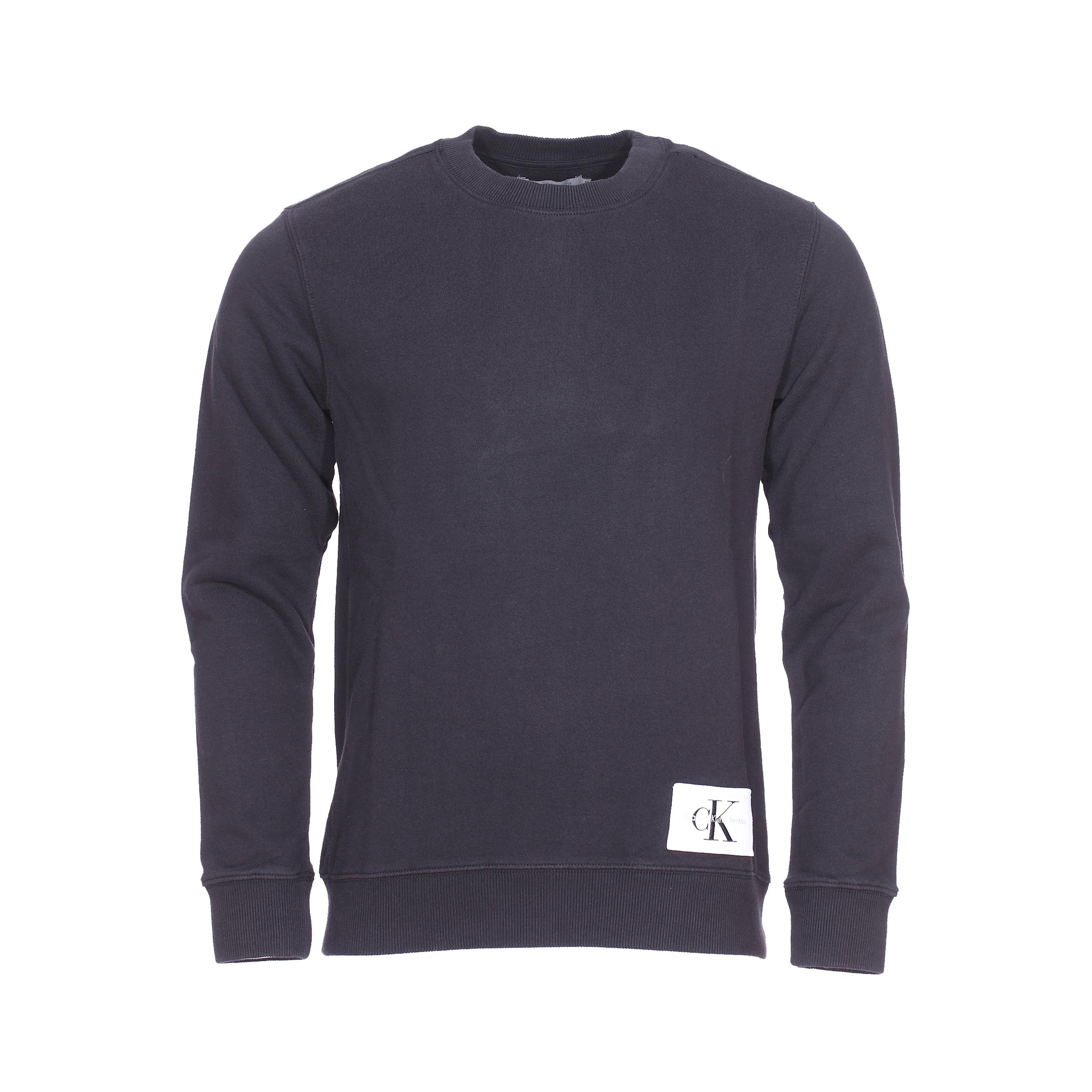 Sweat col rond Calvin Klein Jeans Homeros en coton noir