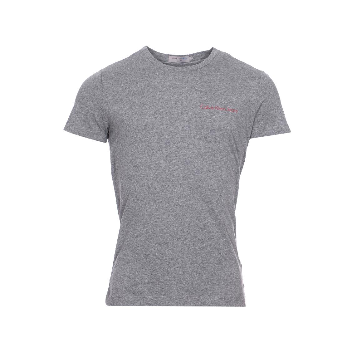 Tee-shirt col rond  typoko en coton gris chiné floqué