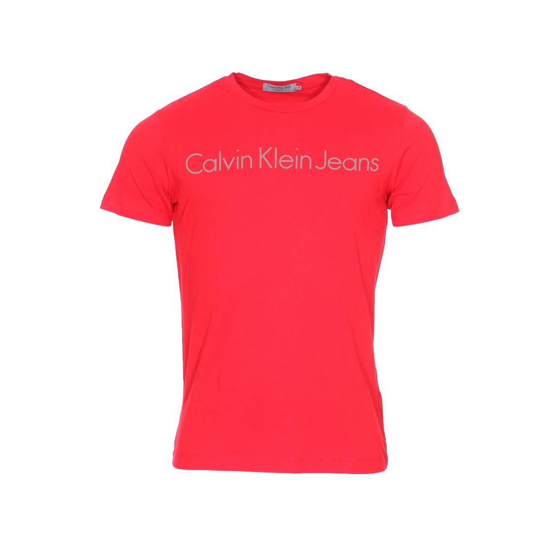 Tee-shirt col rond  treasure en coton rouge