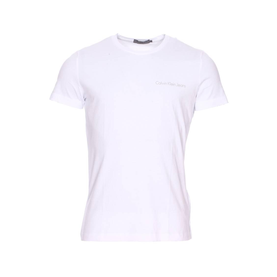 Tee-shirt col rond  typoko en coton blanc floqué