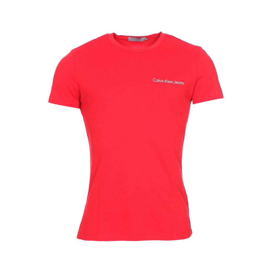 Tee-shirt col rond  typoko en coton rouge floqué