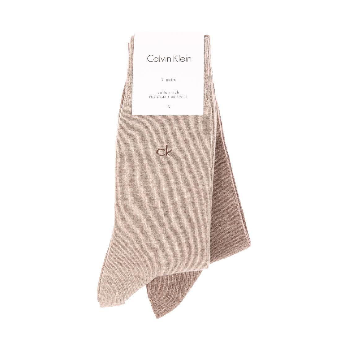 Lot de 2 paires de chaussettes calvin klein casual flat knit en coton stretch beige et marron clair chiné