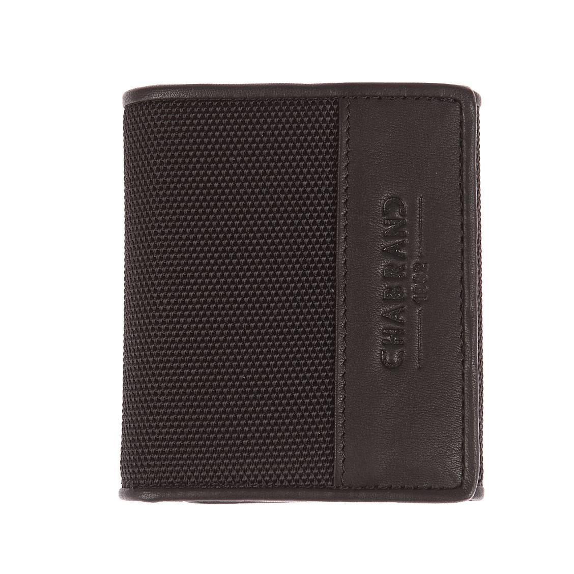 Petit portefeuille 2 volets Chabrand en toile noire garnie de cuir de vachette YjFVhrz