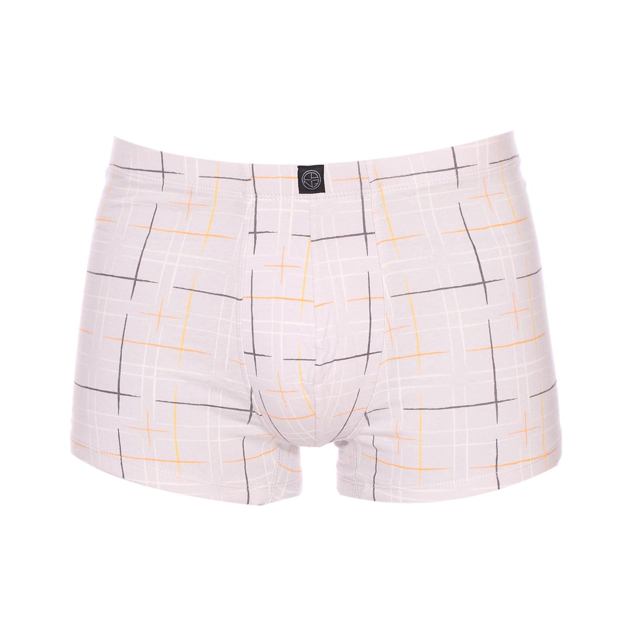 Boxer Christian Cane Fabrice en coton stretch gris clair à carrés blancs gris foncé, orange et jaunes
