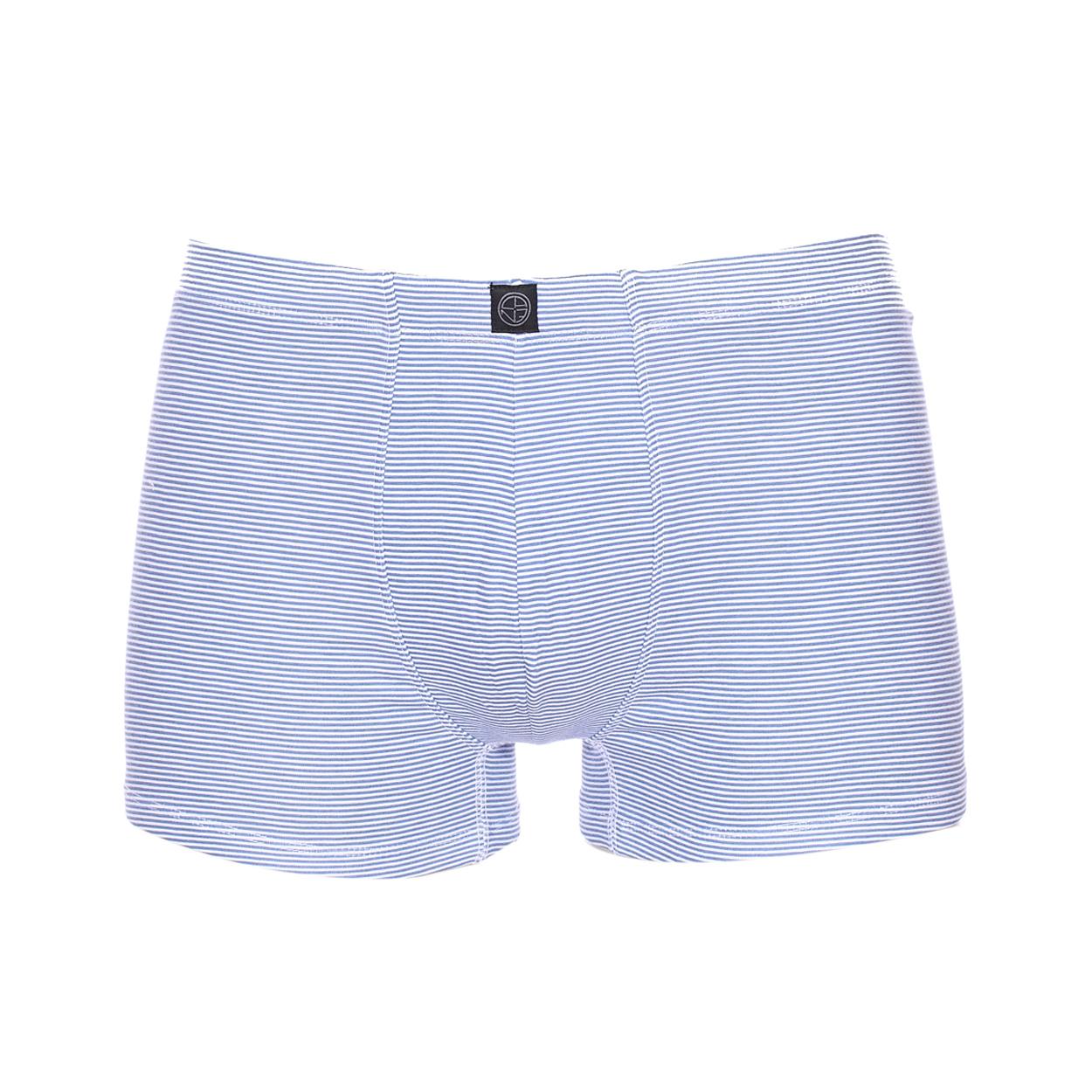 Boxer Christian Cane Flot en coton stretch à rayures blanches et bleues