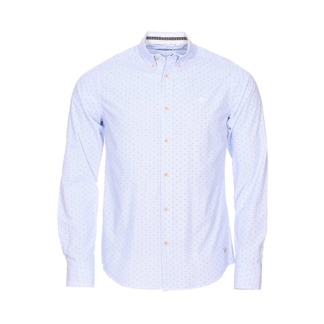 Chemise deeluxe loris est. 74 en coton blanc à rayures bleu ciel et à pois