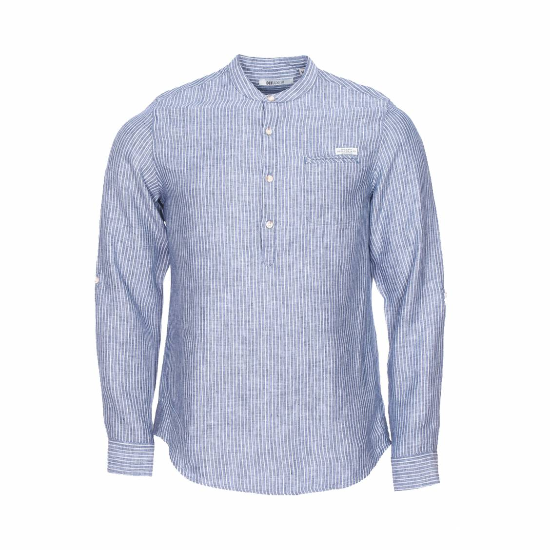 Chemise droite deeluxe est 74. cubano en lin bleu à rayures blanches à col tunisien
