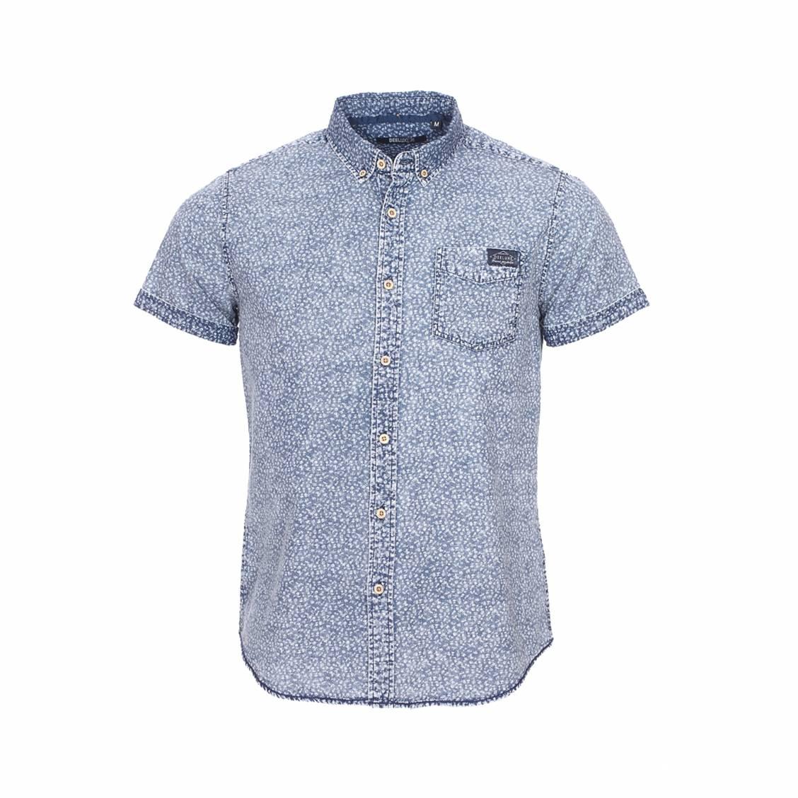 Chemise manches courtes  armeria en coton bleu effet délavé à motif floral