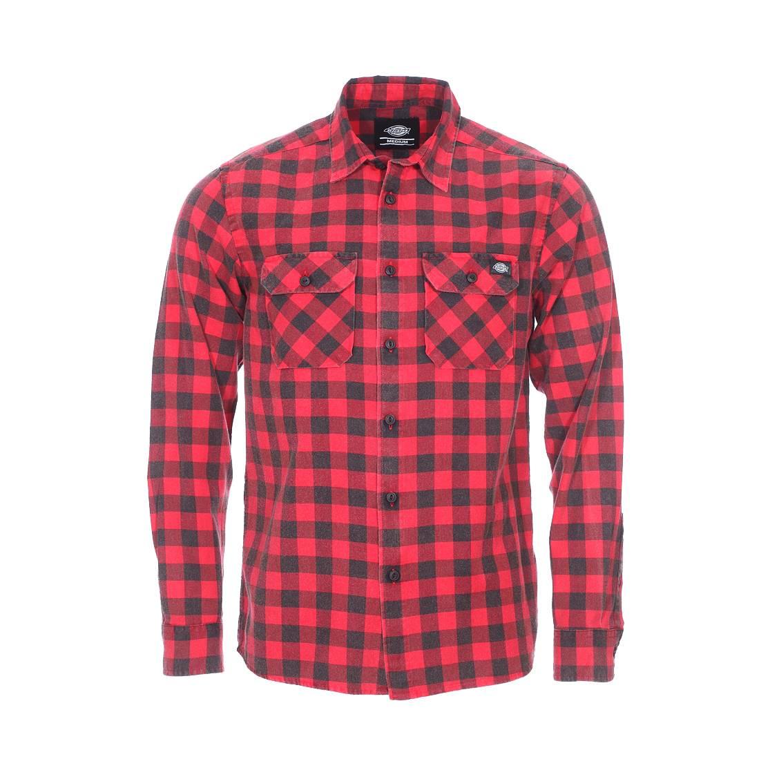 Chemise droite  rock hall en coton à carreaux rouges et noirs