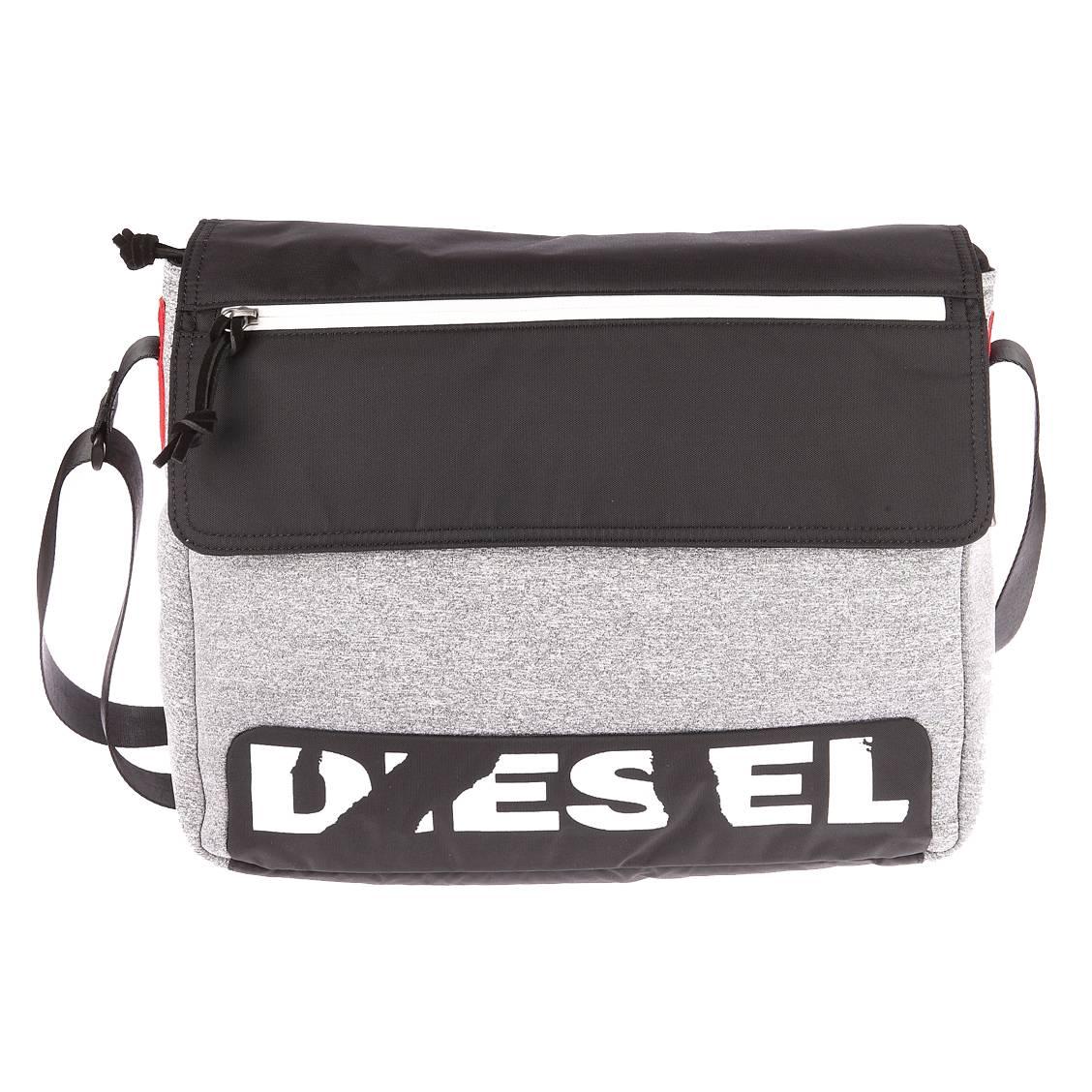 Besace à rabat Diesel F-Scuba gris chiné et noire fI9Tc