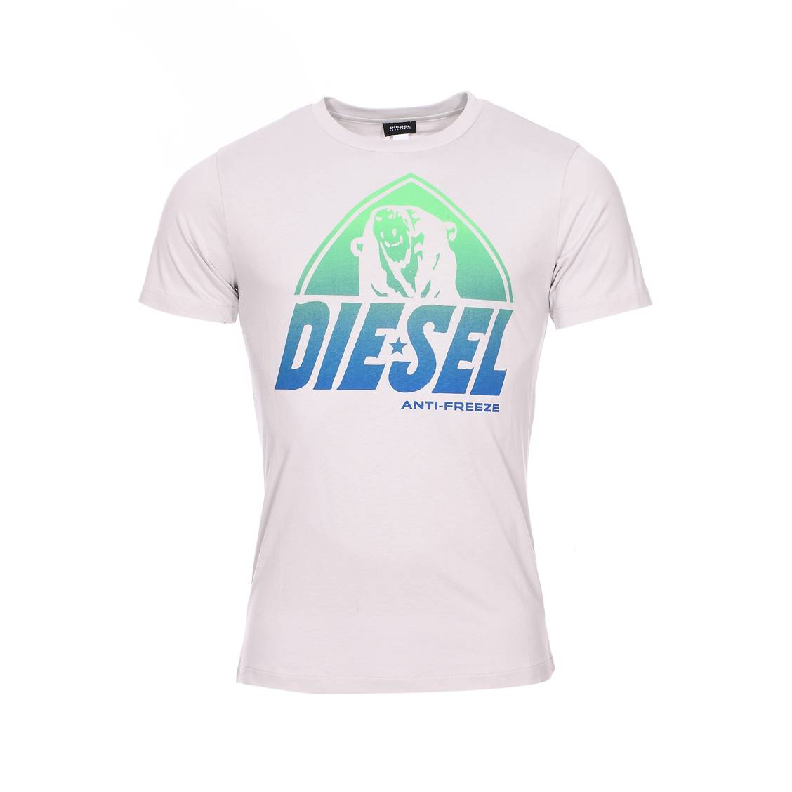 Tee-shirt col rond diesel parsen en coton gris clair floqué