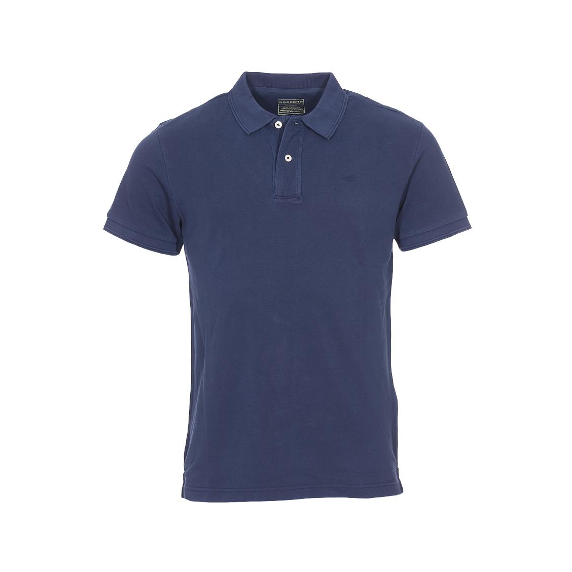 Polo  garment dye pembroke en maille piquée bleu marine