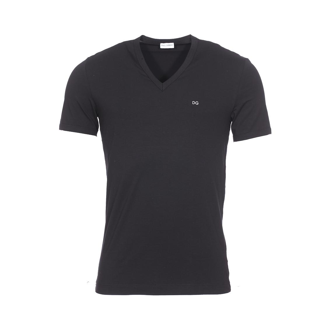 Tee-shirt col v  en coton stretch noir
