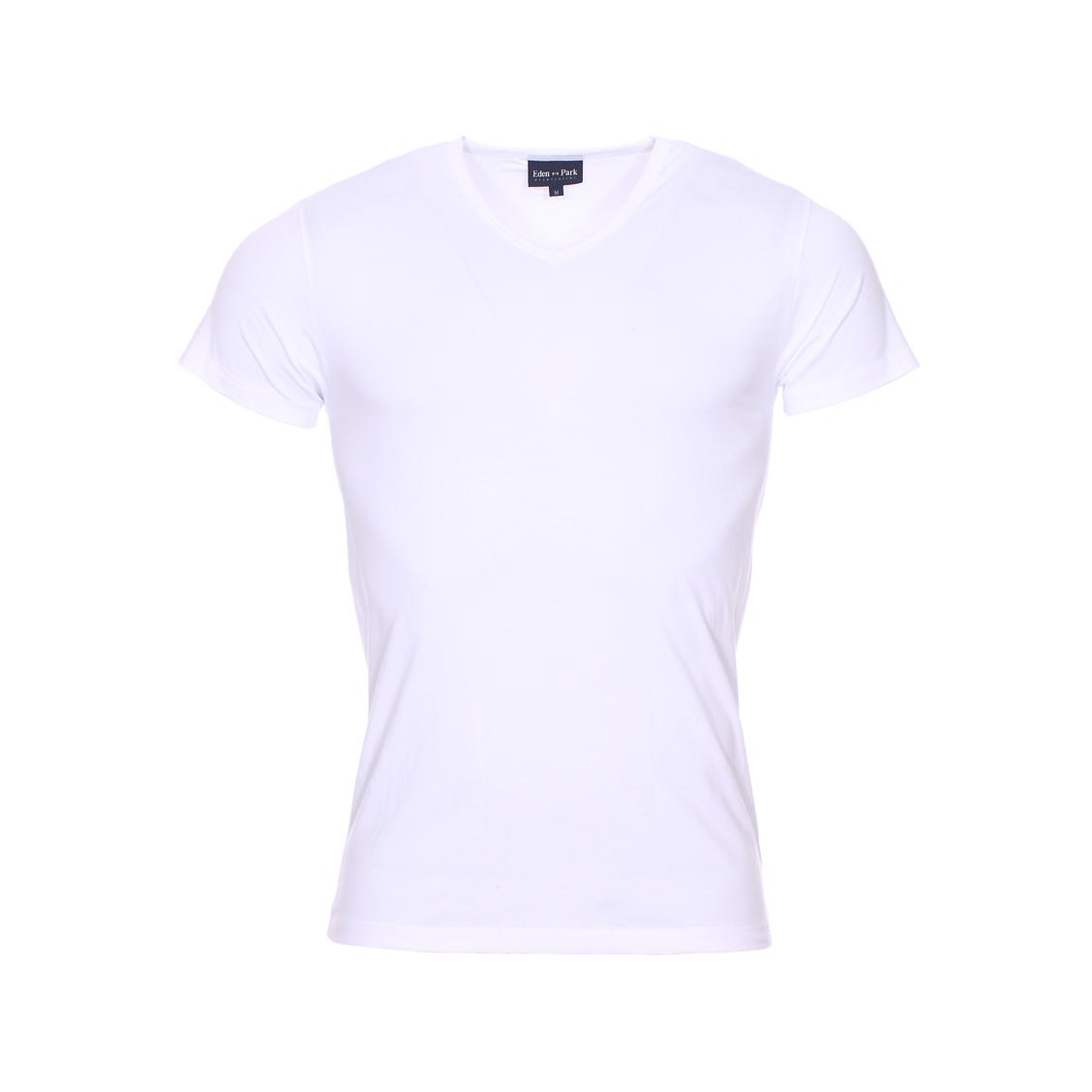 Tee-shirt col v eden park en coton stretch blanc