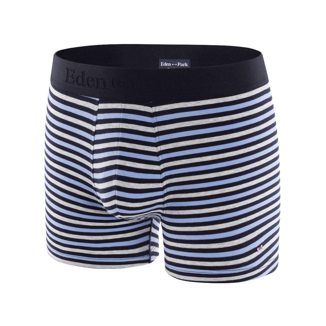 Boxer  en coton stretch rayé gris chiné, bleu marine et bleu ciel