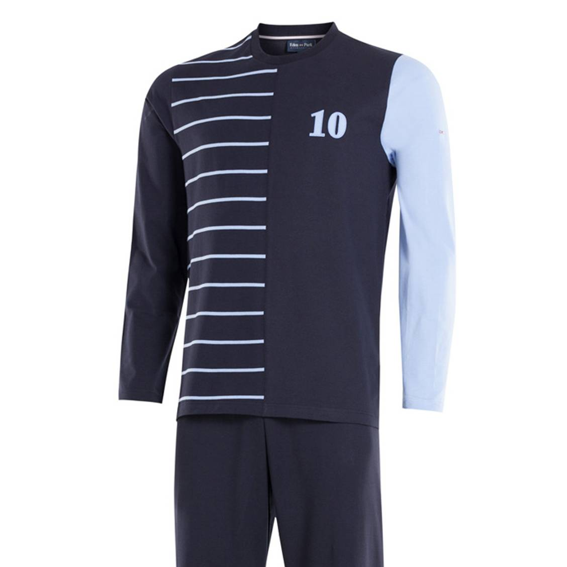 Pyjama long  en coton : tee-shirt manches longues col rond gris et pantalon bleu marine