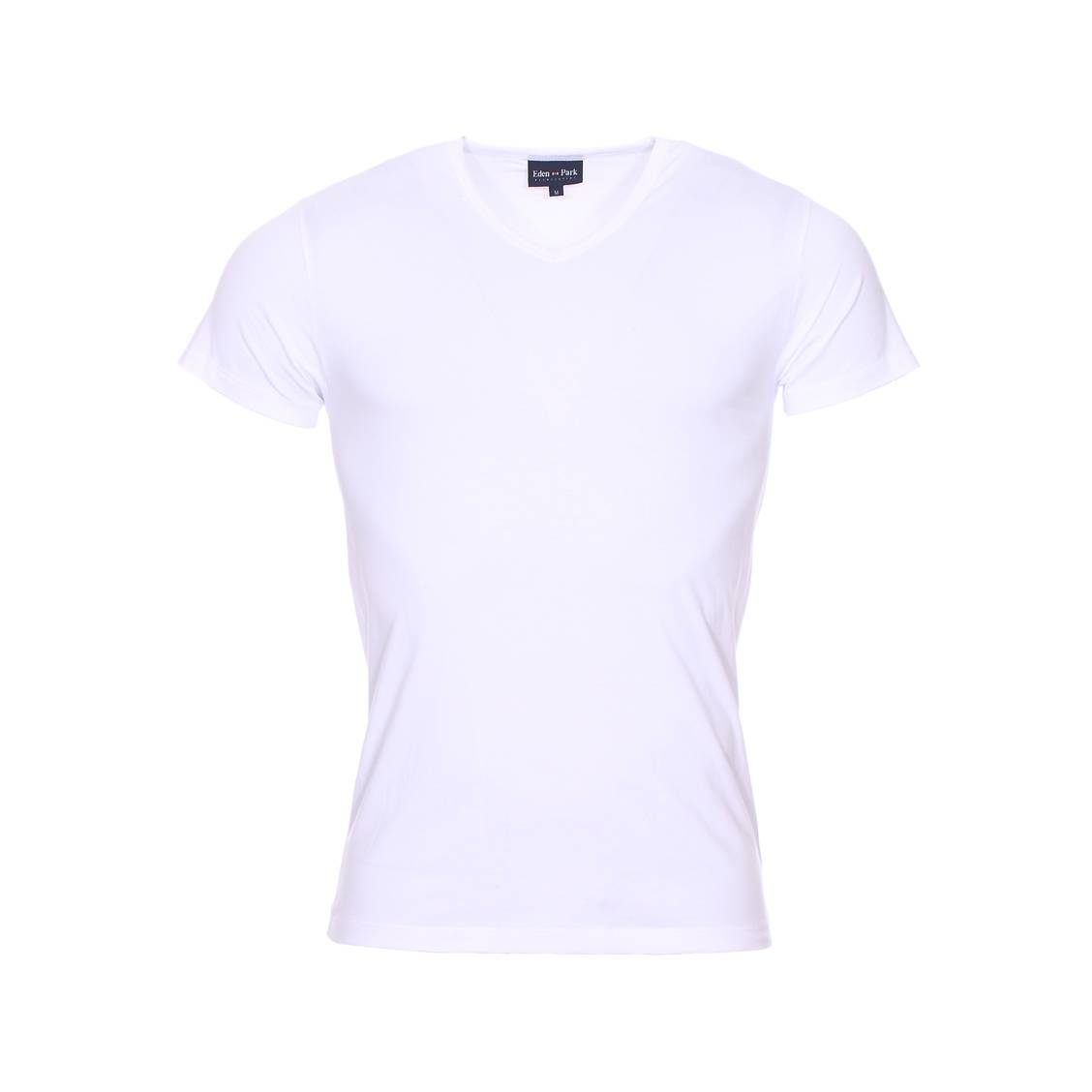 Tee-shirt col v  en coton stretch blanc