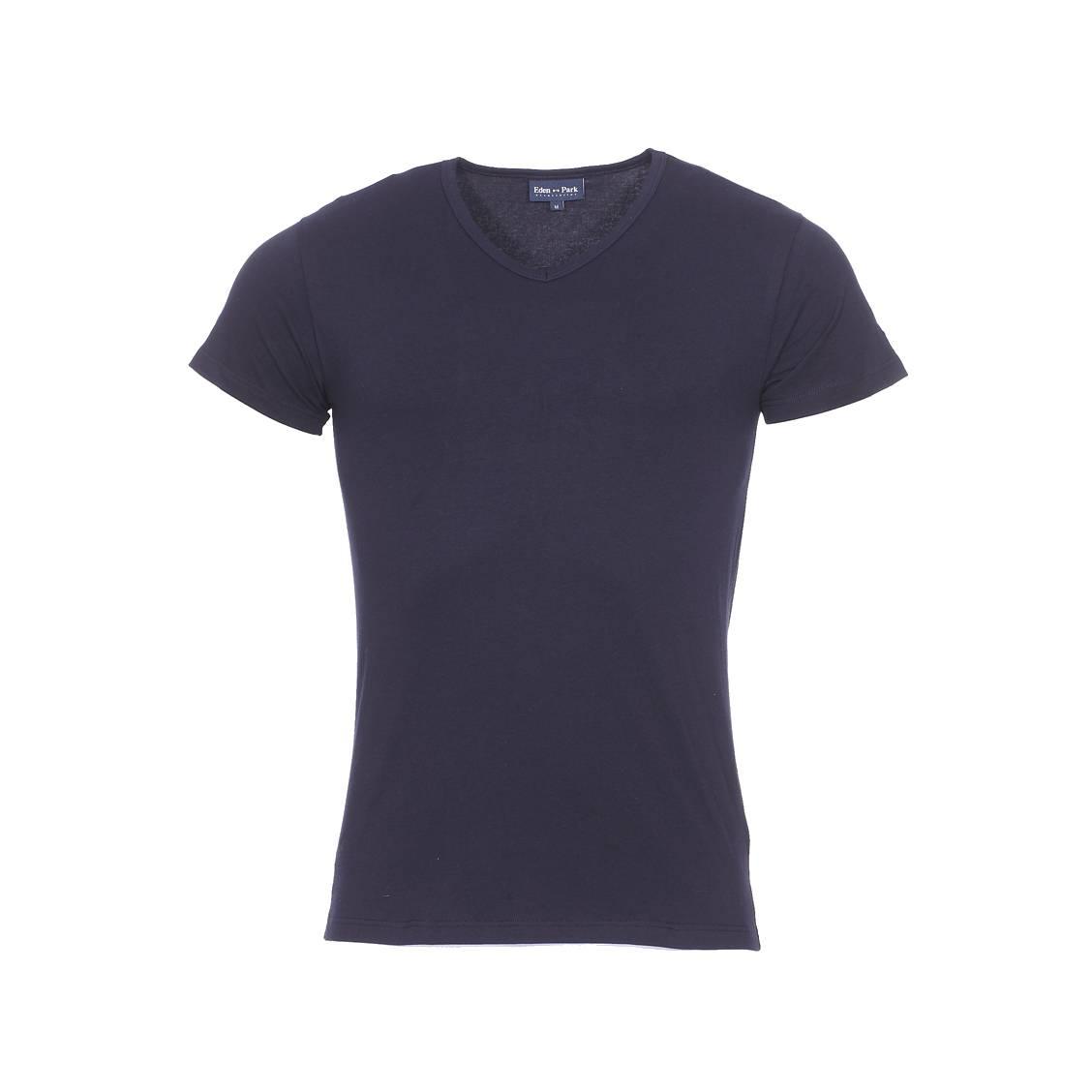 Tee-shirt col v eden park en coton stretch bleu