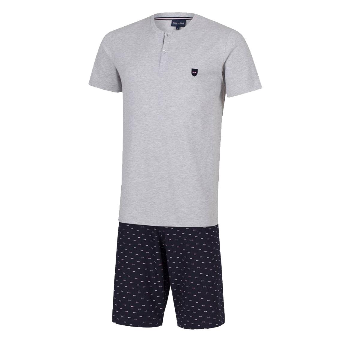 Pyjama court eden park en coton : tee-shirt col tunisien gris chiné et short bleu marine à motifs