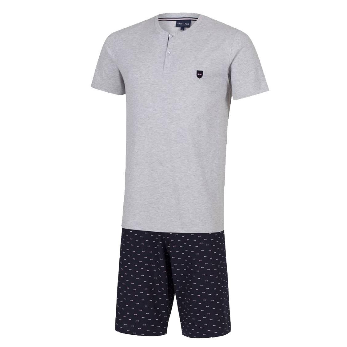 Pyjama court  en coton : tee-shirt col tunisien gris chiné et short bleu marine à motifs
