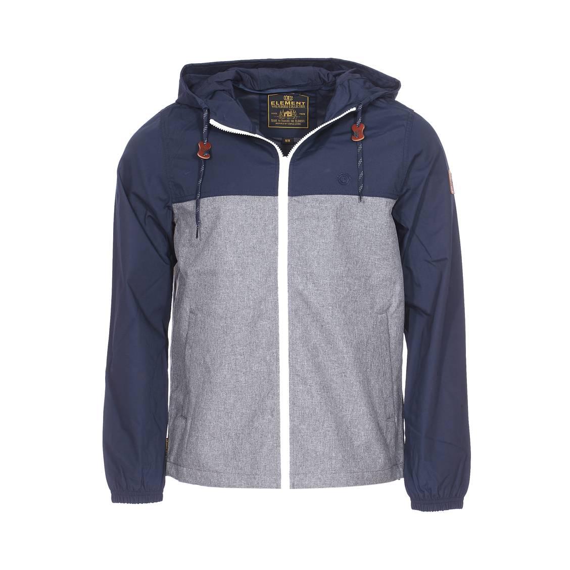 Blouson zippé à capuche  alder bicolore bleu marine et gris chiné